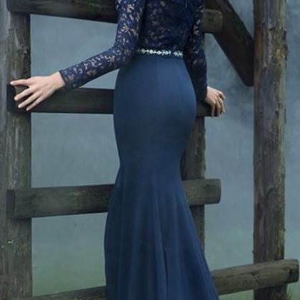 Royal Blue Lace Long Sleeves Prom D..