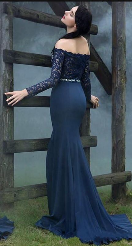 Royal Blue Lace Long Sleeves Prom Dress,Off The Shoulder Evening Dresses 2018,Formal Gowns,Banquet Dress,Party Gowns