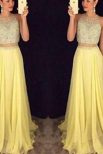 Yellow Chiffon Prom Dress,long prom dress,beading Prom Dress,elegant prom dress,A-line 2 pieces long prom gown,graduation dress,formal dress