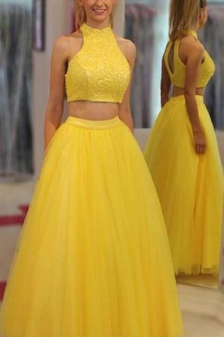 Charming Yellow Prom Dress, Tulle prom Dress,Elegant Two Piece Prom Dresses,Sexy Long Homecoming Dress, 2018 Prom Gowns