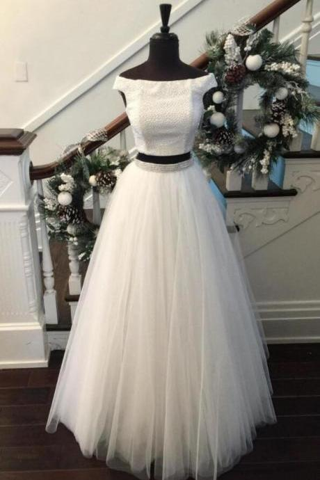 White Two-Piece Prom Dress,Tulle Prom Dress,Sexy prom Dress,Beaded Long Prom Dress,Off Shoulder Tulle Floor-length Evening Dress