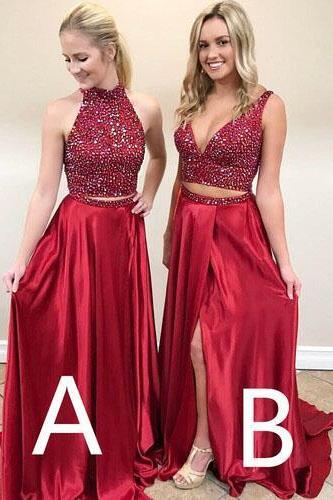 Two Piece Prom Dress, Seniors Prom Dress, Sexy Prom Dress,Cheap Beading Prom Gown,Burgundy Prom Dresses,Long Prom Dress,Red Party Dress, Prom Dress for Girls