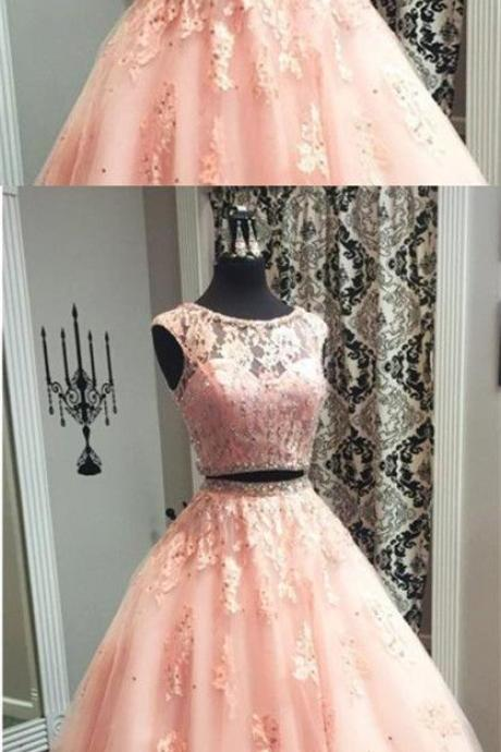 Blush Pink Lace Evening Dress,Ball Gowns Quinceanera Dresses, Two Piece Prom Dress,Evening Dresses,Long Prom Dresses,Party Dresses