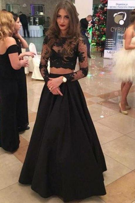Charming Two Piece A-Line Bateau Long Sleeves Black Floor-Length Prom Dress With Lace