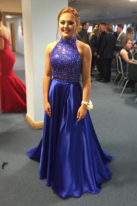 Navy Blue 2 Piece Halter Neck Sequin Beaded A-Line Prom Dress, Evening Dress, Formal Dress