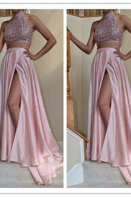 Pink Halter Neck Sequined Bodice 2-Piece A-Line High Side Slit Prom Dress, Evening Dress