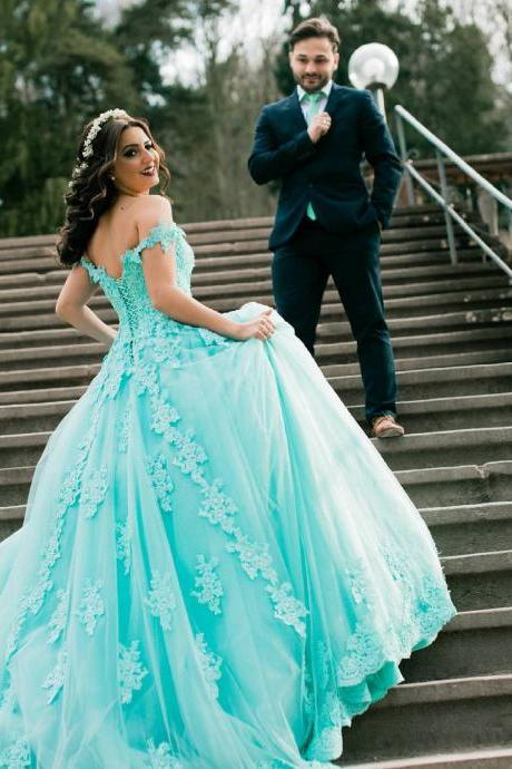 Unique Off Shoulder Ball Gown Prom Dress,Mint Green Lace Prom Dresses,Lace Up Back Tulle Arabic Kaftan Prom Gown Vestido De Festa Long