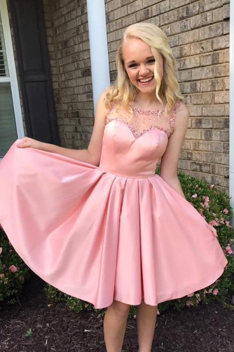 Pink Homecoming Dress,short Mini Ball Gowns,swing Party Dress
