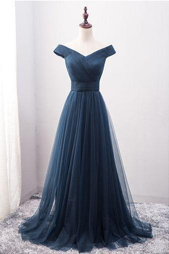 Off Shoulder A-line Tulle Prom Dresses Floor Length Women Party Dresses