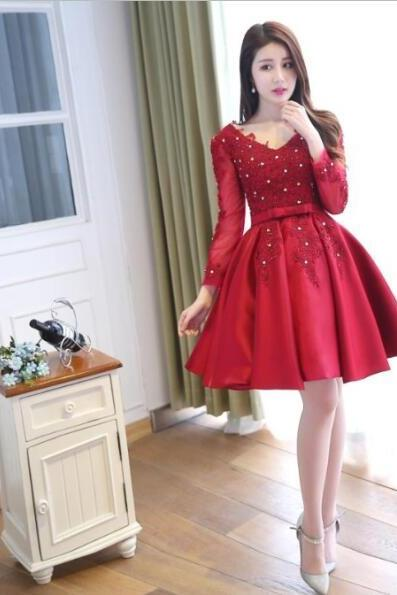 Red Homecoming Dress,Long Sleeves Homecoming Dresses,V-neck Homecoming Dress