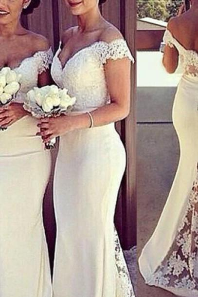 Ivory Satin Off The Shoulder Mermaid Bridesmaid Gown With Covered Button