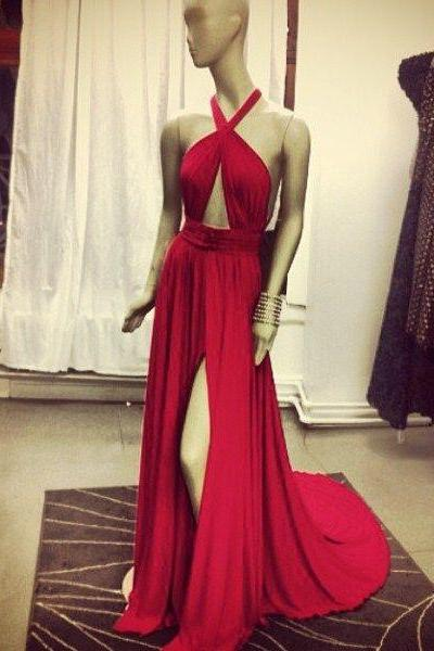 Red Halter Chiffon Slit Prom Dress, Evening Gown With Cut Out Bodice
