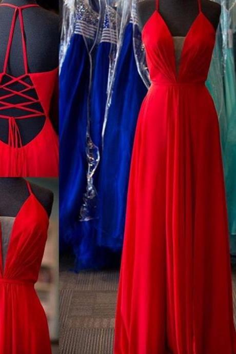 Red Plunging V Neck Chiffon Prom Dress With Cut Out Back