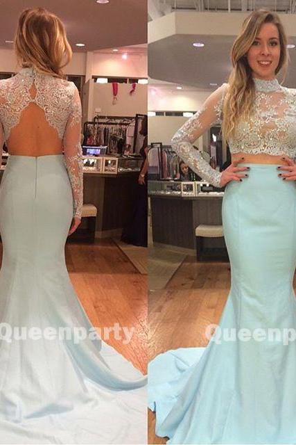 Lace/ Satin High Neck Long Sleeves Two Piece Mermaid Gown With Cut Out Back