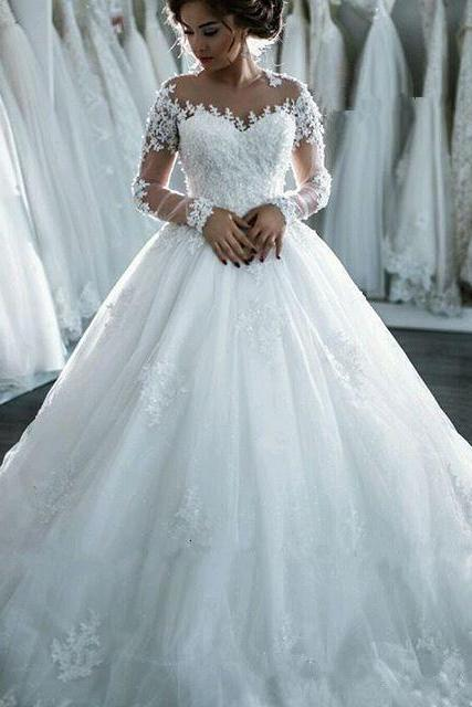 Appliques Wedding Dresses,Long Sleeve Wedding Gown,Princess Wedding Dresses,Elegant Wedding Dresses,Ball Gowns Wedding Dresses,Sweetheart Wedding Dress,Wedding Dresses