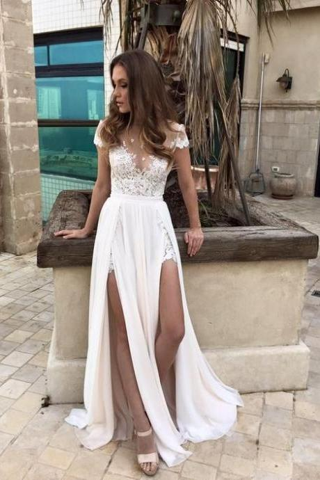 Beach Wedding Dresses,Chiffon Wedding Dresses,Beaded Wedding Dresses,Sexy Bridal Gowns,See Through Wedding Dresses