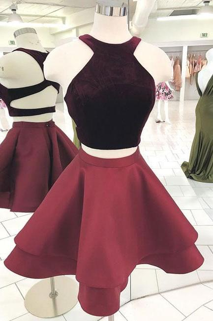Cute burgundy two pieces short prom dress,burgundy homecoming dress