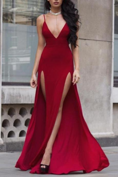 Sexy Deep V-Neck Burgundy Long Prom Dress with Slits,Spaghetti Straps Evening Gowns