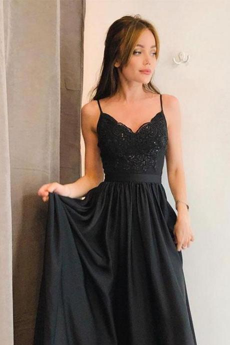 Black V-Neck Lace Long Prom Dress Split Side Evening Dress