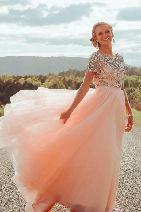 Gorgeous Rhinestone Beaded Prom Dresses with Short Sleeves,Pink Tulle Evening Dress