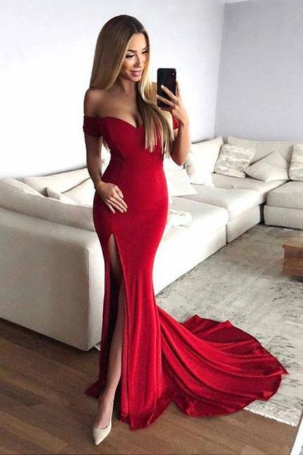 Sexy Red Mermaid Off The Shoulder Prom Dress with Split,Sweep Train Sheath Evening Dress