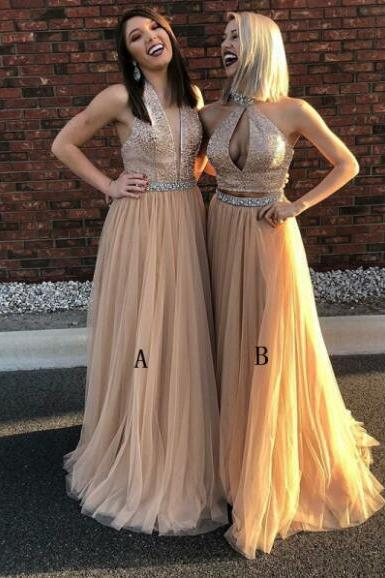 Luxurious Beaded A-Line V-Neck Floor-Length Prom Dress with Tulle Skirt,Champagne Evening Party Dress