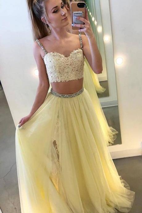 Yellow Two Piece Lace Tull Prom Dress,Straps A-Line Evening Dress