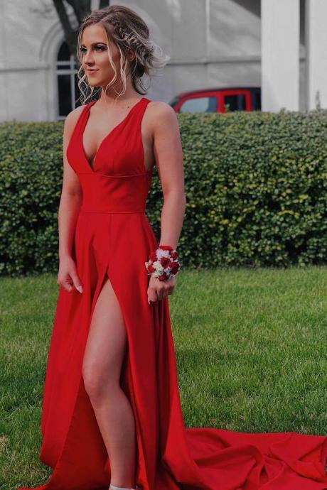 Red V-Neck Straps Long Prom Dress with Cross Back