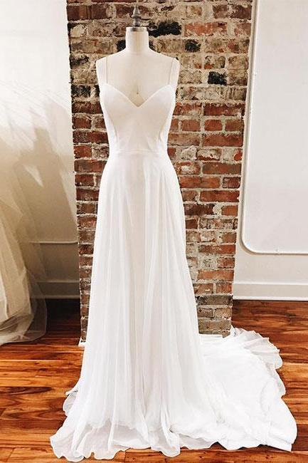 Simple White V-Neck Chiffon Long Prom Dress