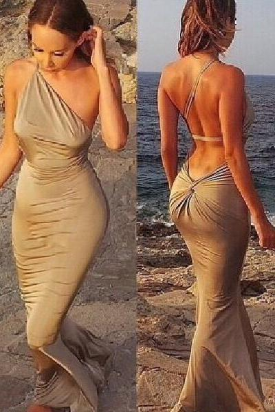 Prom dress Formal dress Backless Grey One Shoulder Floor Length Sheath Column Prom Dress
